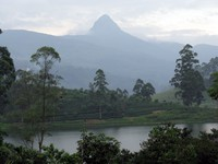 Adams Peak behind the lake