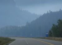 Canadian fire haze road