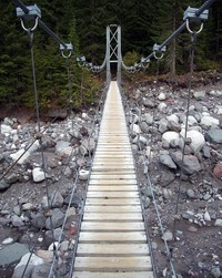 Carbon River Trail swinging bridge