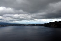 Crater Lake under dark sky