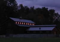Green River barn at sunset
