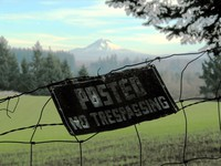 Hatton Road no trespassing with Mt Hood 117