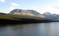 Lake Sherburne and mountains