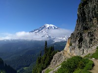 Mt Rainier behind Pinnacle Peak Trail