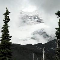 Mt Rainier wall behind the clouds