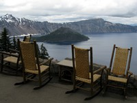 chairs at Crater Lake