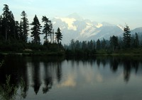 fire hazed Mt Shuksan over Picure Lake