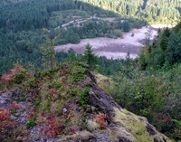 looking down from north approach to Rattlesnake Ledge