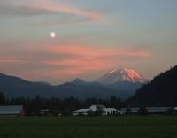 moon over Enumclaw and Mt Rainier