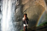 Heather Yosemite waterfall and tiny rainbow