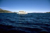 bus on ferry Lake Titicaca 1980