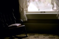 rocking chair and window in Jackson Oregon 1971