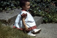 very young Heather on front step