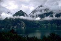 water clouds and hills Switzerland 1971