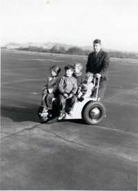 rb eric bruce tommy andy on the Lectro Cart at Astoria airport dec 03 1955 001