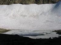 snow and lake below Frying Pan Gap